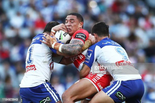 Tyson Frizell of the Dragons is tackled during the round 13 NRL match between the Canterbury Bulldogs and the St George Illawarra Dragons at ANZ...