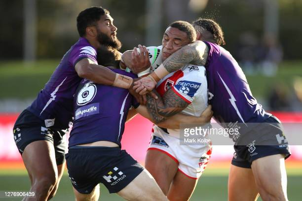 Tyson Frizell of the Dragons is tackled during the round 20 NRL match between the St George Illawarra Dragons and the Melbourne Storm at Netstrata...