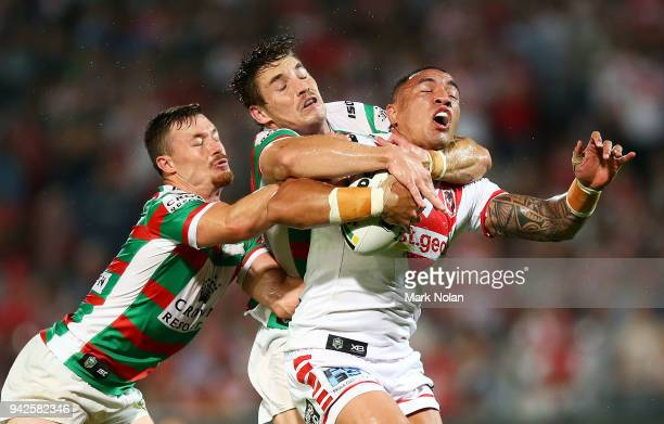 Tyson Frizell of the Dragons is tackled high during the round five NRL match between the St George Illawarra Dragons and the South Sydney Rabbitohs...