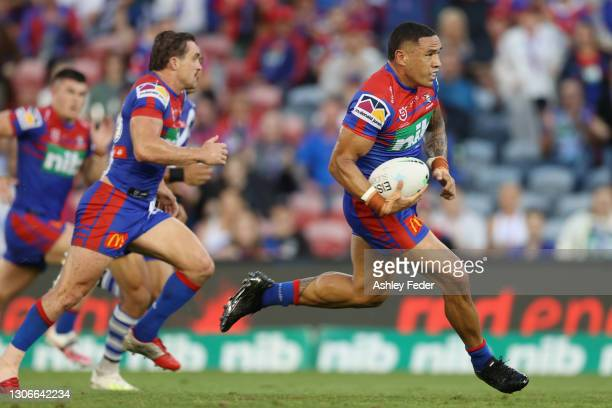 Tyson Frizell of the Knights in action during the round one NRL match between the Newcastle Knights and the Canterbury Bulldogs at McDonald Jones...