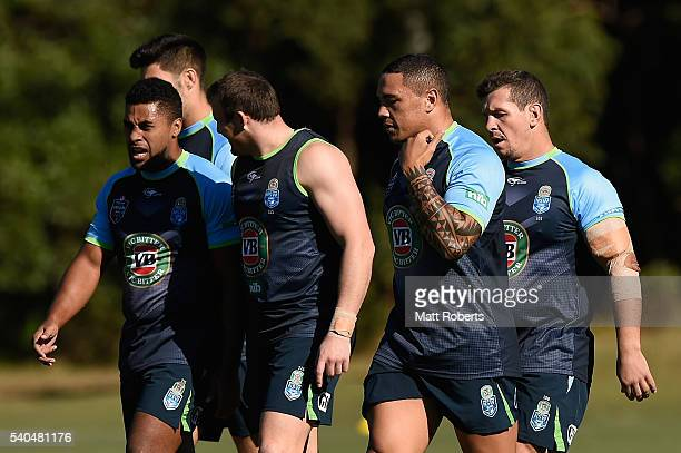 Tyson Frizell walks with his team mates during a New South Wales Blues State of Origin training session on June 16 2016 in Coffs Harbour Australia