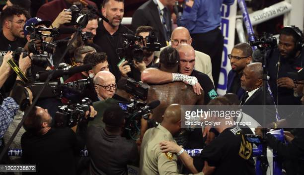 Tyson Fury and Deontay Wilder after the World Boxing Council World Heavy Title bout at the MGM Grand Las Vegas