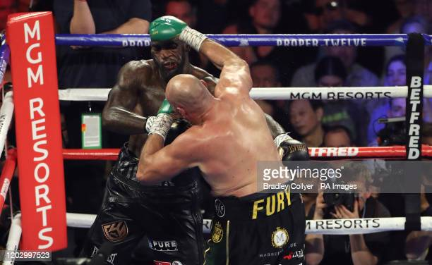 Tyson Fury and Deontay Wilder during the World Boxing Council World Heavy Title bout at the MGM Grand Las Vegas