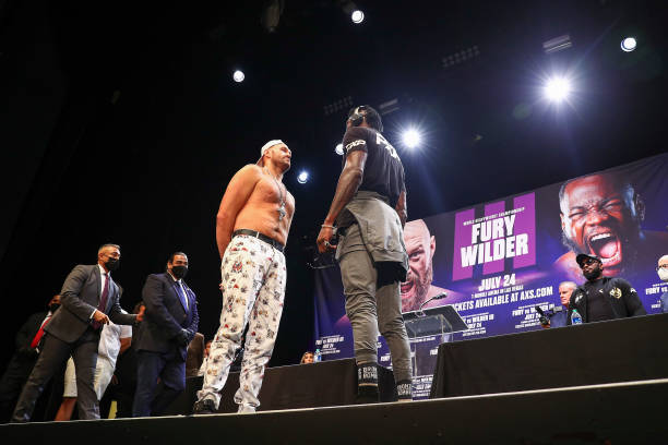 Tyson Fury and Deontay Wilder face off during the press conference at The Novo by Microsoft at L.A. Live on June 15, 2021 in Los Angeles, California.