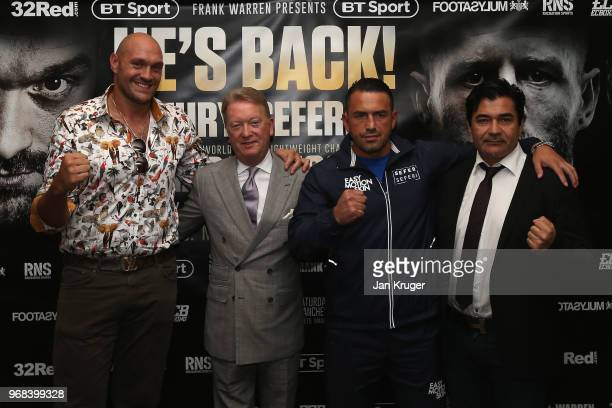 Tyson Fury and Sefer Seferi pose with Frank Warren and Erol Ceylan during the Tyson Fury and Sefer Seferi Press Conference on June 6, 2018 in...