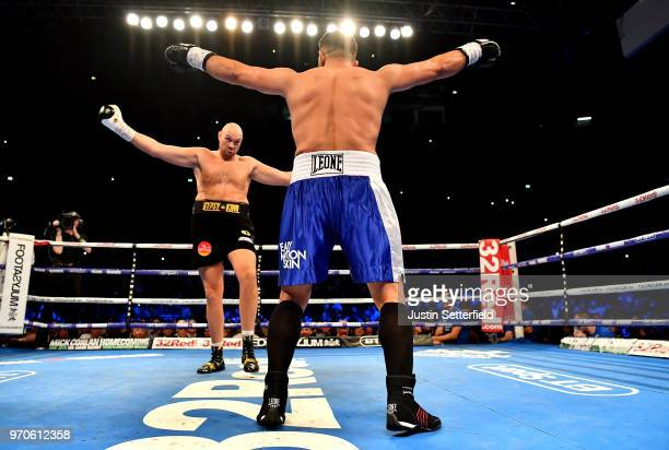 Tyson Fury and Sefer Seferi taunt each other during there heavyweight contest at Manchester Arena on June 9 2018 in Manchester England