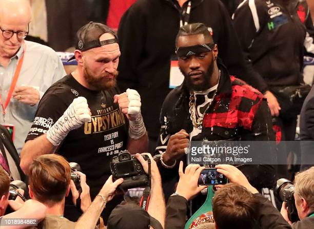 Tyson Fury and WBC heavyweight champion Deontay Wilder at Windsor Park Belfast