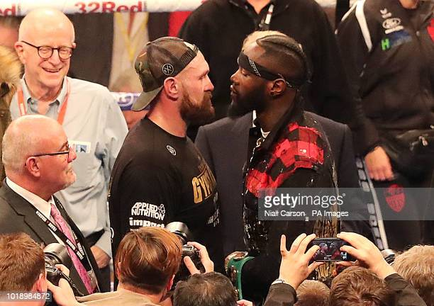Tyson Fury and WBC heavyweight champion Deontay Wilder at Windsor Park, Belfast.