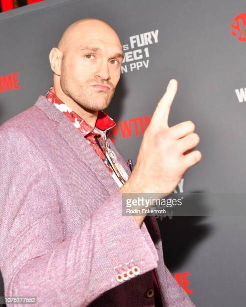 Tyson Fury attends the Heavyweight Championship of The World Wilder vs Fury Premiere at Staples Center on December 01 2018 in Los Angeles California