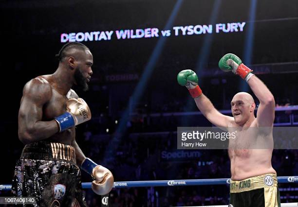 Tyson Fury baits Deontay Wilder in the second round fighting to a draw during the WBC Heavyweight Championship at Staples Center on December 1 2018...
