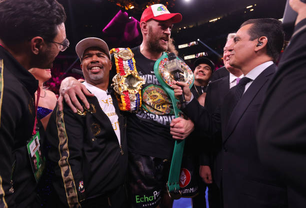 Tyson Fury celebrates after defeating Deontay Wilder for the WBC heavyweight championship at T-Mobile Arena on October 09, 2021 in Las Vegas, Nevada.