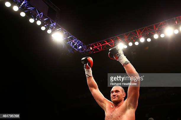 Tyson Fury celebrates victory over Christian Hammer in a Heavyweight Contest at the O2 Arena on February 28 2015 in London England