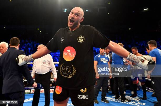 Tyson Fury celebrates victory over Sefer Seferi after there heavyweight contest at Manchester Arena on June 9 2018 in Manchester England