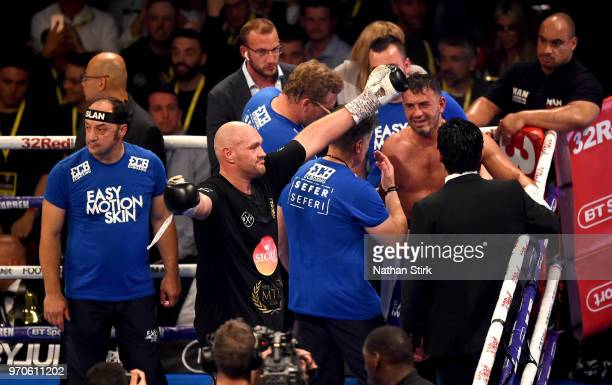 Tyson Fury celebrates victory over Sefer Seferi during there heavyweight contest at Manchester Arena on June 9 2018 in Manchester England
