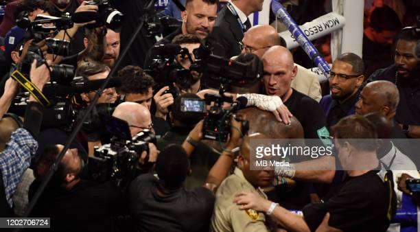 Tyson Fury cheers after going 7 rounds with Deontay Wilder at the MGM Grand Hotel February 22 2020 in Las Vegas Nevada Las Vegas NV Tyson Fury took...