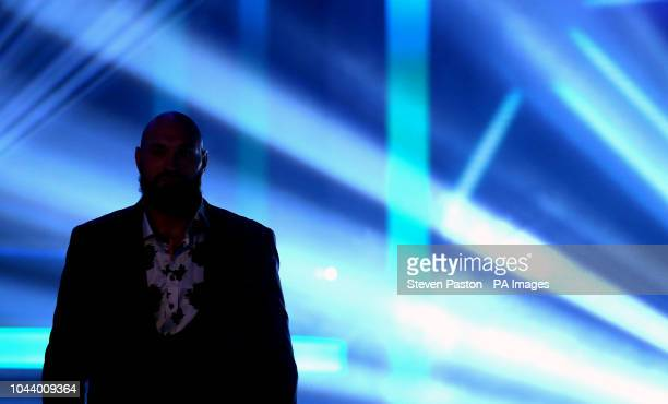 Tyson Fury during a press conference at BT Sport Studio London
