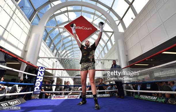 Boxer Luke Jackson during an open public workout at Castle Court on August 15 2018 in Belfast Northern Ireland The Carl Frampton boxing bill also...