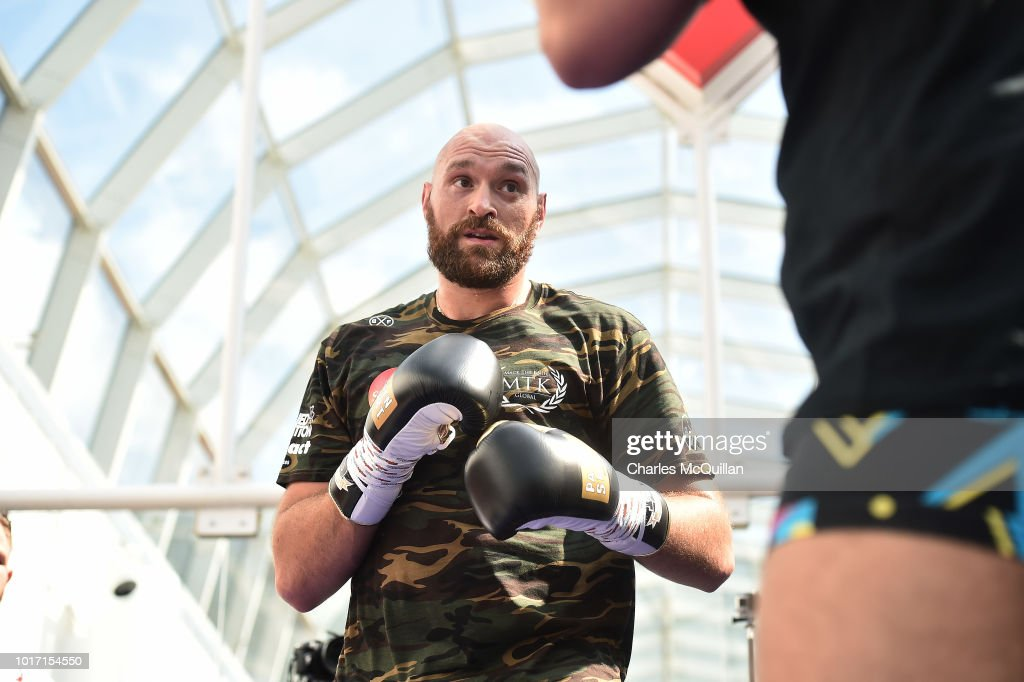 Tyson Fury during an open public workout at Castle Court on August 15, 2018 in Belfast, Northern Ireland. The Carl Frampton boxing bill also featuring Tyson Fury and Paddy Barnes takes place on Saturday night at Windsor Park.