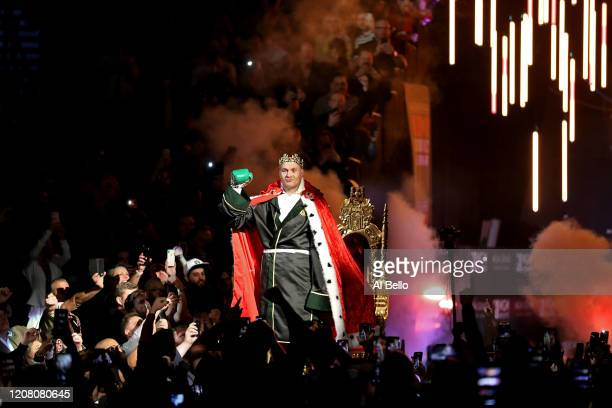 Tyson Fury enters the ring prior to the Heavyweight bout for Wilder's WBC and Fury's lineal heavyweight title against Deontay Wilder on February 22,...