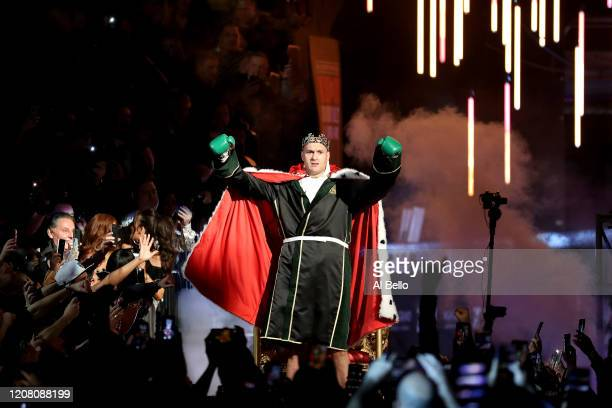 Tyson Fury enters the ring prior to the Heavyweight bout for Wilder's WBC and Fury's lineal heavyweight title against Deontay Wilder on February 22...