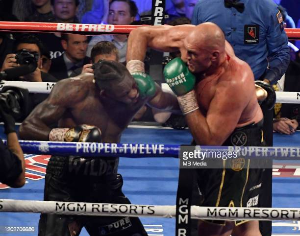 Tyson Fury goes 7 rounds with Deontay Wilder at the MGM Grand Hotel February 22 2020 in Las Vegas Nevada Tyson Fury took the win by TKO in the 7th...