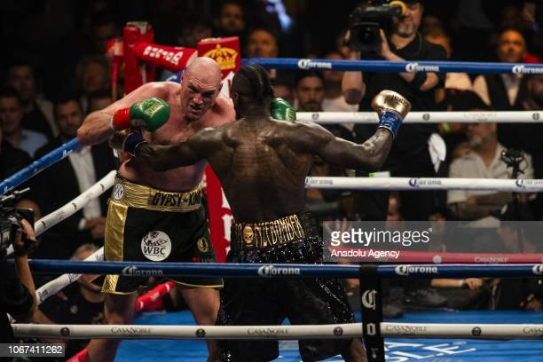 Tyson Fury in action against Deontay Wilder during the 12th round of WBC Heavyweight Championship at the Staples Center in Los Angeles California on...