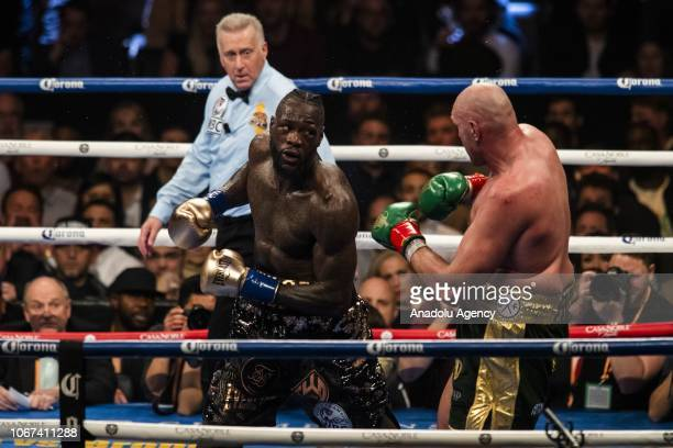 Tyson Fury in action against Deontay Wilder during the 12th round of the WBC Heavyweight Championship at the Staples Center in Los Angeles California...