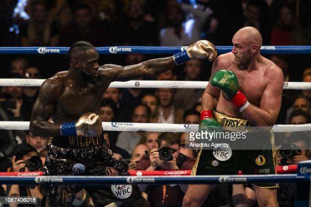 Tyson Fury in action against Deontay Wilder during the Showtime WBC Heavyweight Championship at the Staples Center in Los Angeles California on...