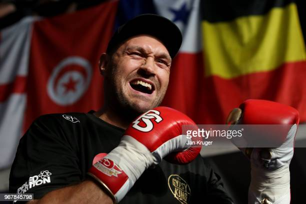 Tyson Fury in action during a public workout at the National Football Museum on June 5 2018 in Manchester England