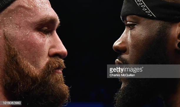 Tyson Fury is confronted by rival boxer Deontay Wilder after defeating Francesco Pianeta in a heavyweight contest at Windsor Park on August 18 2018...
