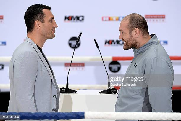 Tyson Fury jokes as he faces Wladimir Klitschko during their head to head press conference on April 28 2016 in Cologne Germany Fury v Klitschko Part...