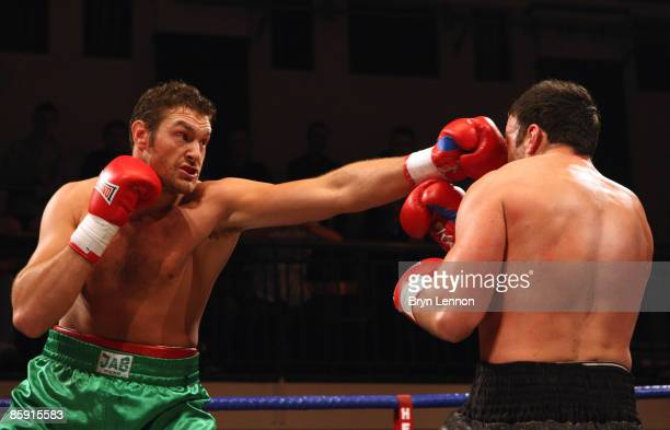 Tyson Fury lin action against Mathew Ellis prior to Commonwealth Welterweight Title fight between John O Donnell and Craig Watson at York Hall on...