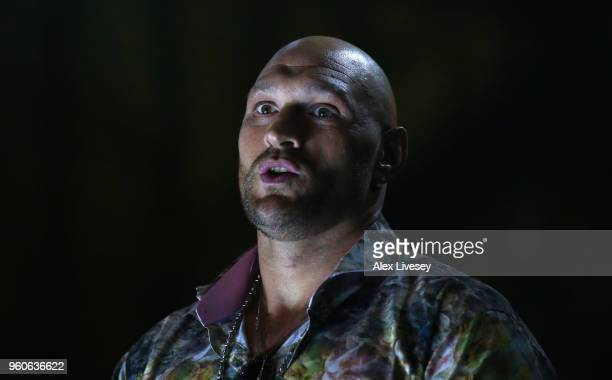 Tyson Fury looks on from ringside prior to the IBF Featherweight Championship fight between Lee Selby and Josh Warrington at Elland Road on May 19...
