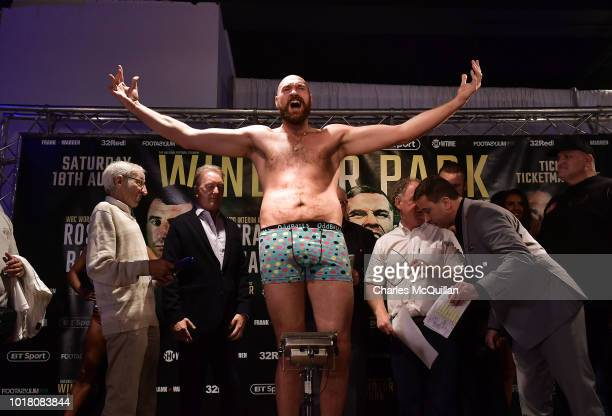 Tyson Fury pictured during the weigh in for his fight with Francesco Pianeta on August 17, 2018 in Belfast, Northern Ireland. Windsor park will host the Frampton boxing bill on Saturday night which also features Paddy Barnes and Tyson Fury.