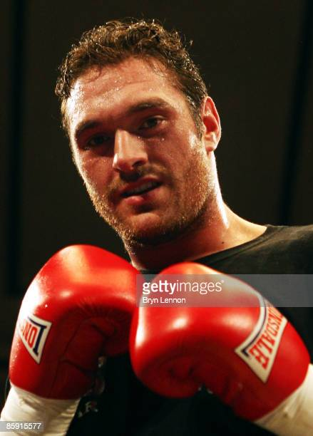 Tyson Fury poses after winning his heavyweight fight against Mathew Ellis prior to Commonwealth Welterweight Title fight between John O Donnell and...
