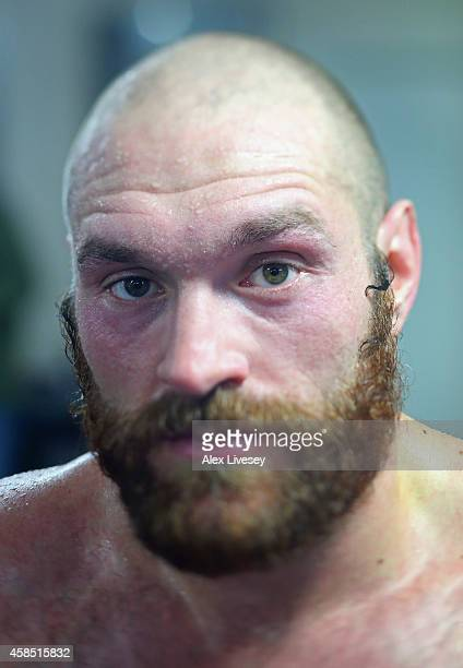 Tyson Fury poses for a portrait during a training session at Team Fury Gym ahead of his fight with Dereck Chisora on November 6 2014 in Bolton England
