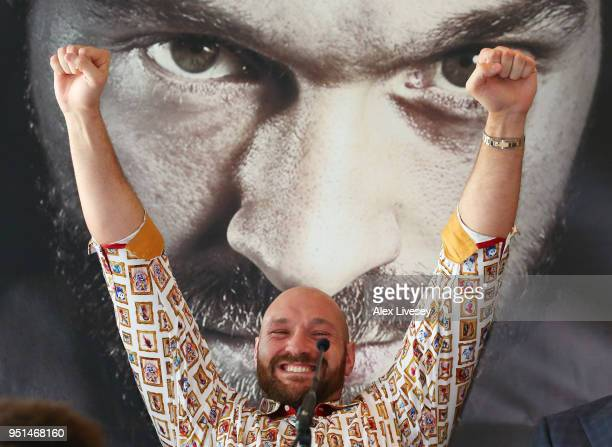 Tyson Fury reacts during a press conference on April 26 2018 at the Lowry Hotel in Manchester England Fury is due to make his competitive comeback on...