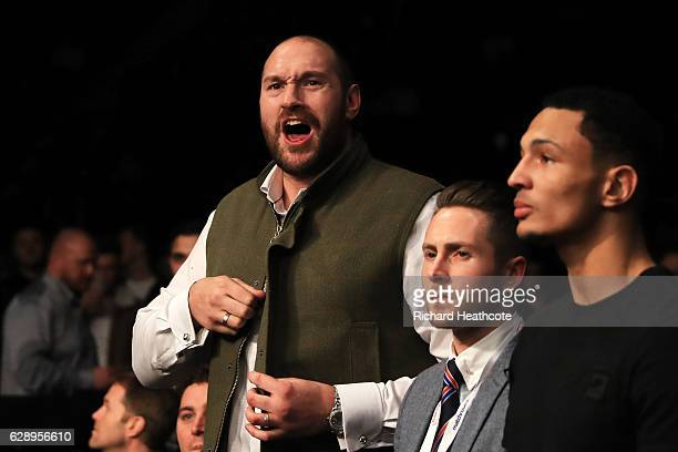 Tyson Fury shows his support during a Heavyweight contest between Luis Ortiz of Cuba and David Allen at Manchester Arena on December 10 2016 in...