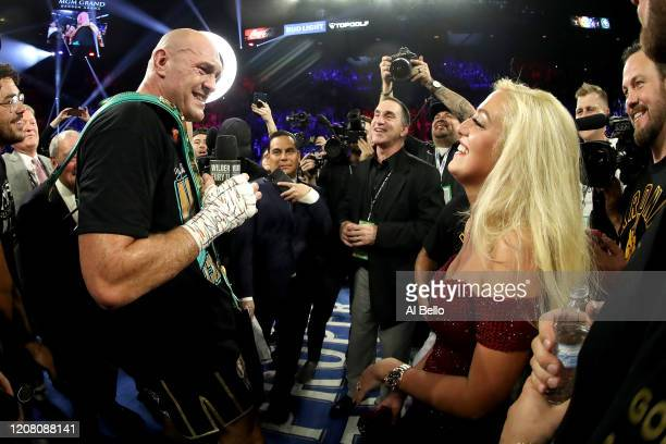 Tyson Fury sings American Pie to his wife Paris Fury and the fans following his win by TKO in the seventh round against Deontay Wilder in the...
