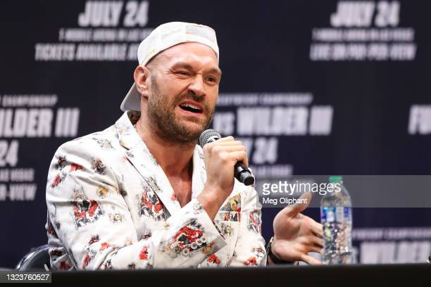 Tyson Fury speaks at the press conference with Deontay Wilder at The Novo by Microsoft at L.A. Live on June 15, 2021 in Los Angeles, California.