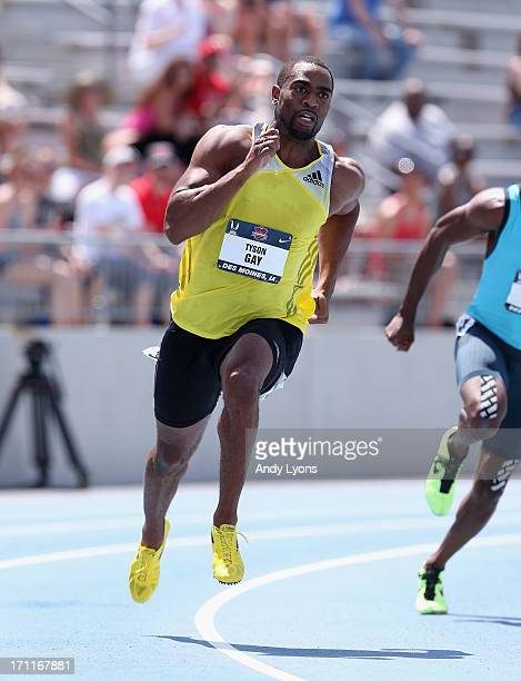 Tyson Gay competes in the opening round of the Men's 200 Meter on day three of the 2013 USA Outdoor Track & Field Championships at Drake Stadium on...