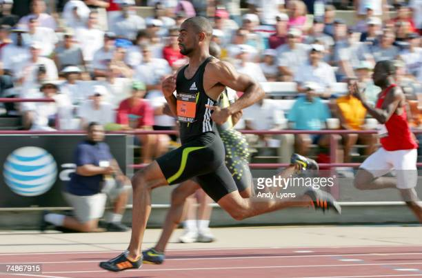 Tyson Gay competes in the semifinals of the men's 100 meter dash on the second day of the AT&T USA Outdoor Track and Field Championships at IU...