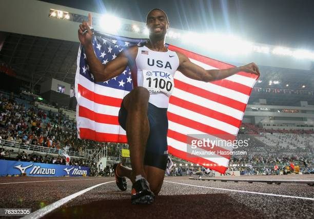 Tyson Gay of the United States of America celebrates winning the gold medal in the Men's 100m final on day two of the 11th IAAF World Athletics...