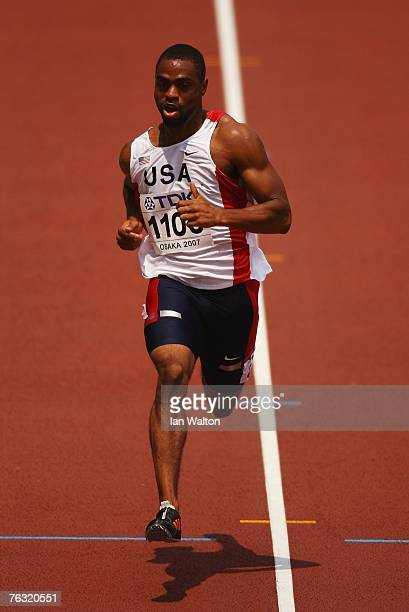 Tyson Gay of the United States of America competes during the Men's 100m heats on day one of the 11th IAAF World Athletics Championships on August 25...