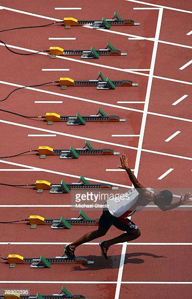 Tyson Gay of the United States of America practices his starts before competing during the Men's 100m heats on day one of the 11th IAAF World...