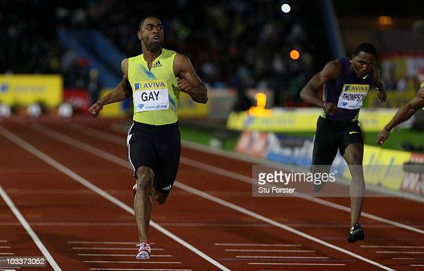 Tyson Gay of the USA wins the Mens 100 metres final during the Aviva London Grand Prix at Crystal Palace on August 13 2010 in London England
