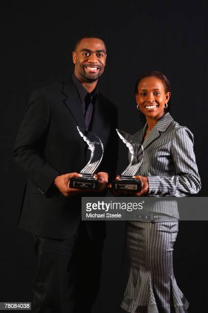 Tyson Gay of USA and Meseret Defar of Ethiopia are named athletes of the year during the IAAF World Athletics Gala at the Sporting Club on November...