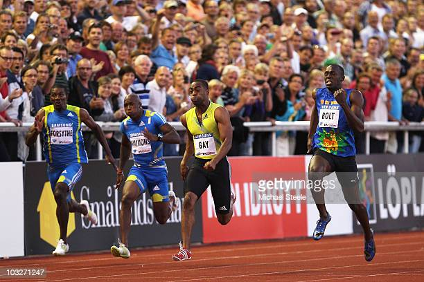 Tyson Gay of USA wins the men's 100m from Usain Bolt of Jamaica during the IAAF Diamond League meeting at the Olympic Stadium on August 6 2010 in...