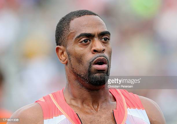 Tyson Gay reacts after winning the Men's 200 Meter Dash final on day four of the 2013 USA Outdoor Track & Field Championships at Drake Stadium on...