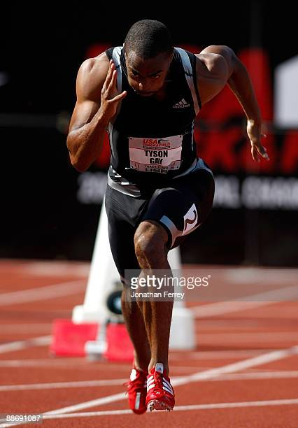 Tyson Gay runs in the 100m heats during day 1 of the USA Track and Field National Championships on June 25, 2009 at Hayward Field in Eugene, Oregon.
